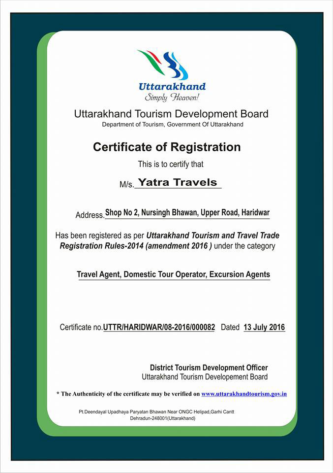 certificate of uttrakhand tourism registration